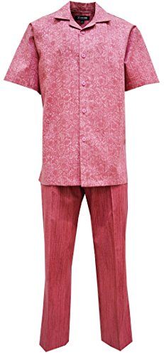 STACY ADAMS MEN'S COATED LINEN SHIRT-PANT SET, PASLEY PRINT (M/34, RED) - Paisley Camp Shirt