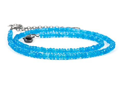 - Apatite Necklace, Neon Blue Apatite Natural Gemstone Necklace