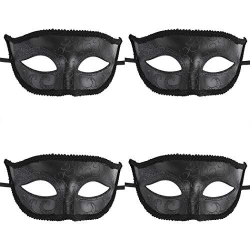 Coxeer Venetian Masquerade Mask Halloween Mardi Gras Mask Masquerade Ball for Women and Men (4PCS Black) -