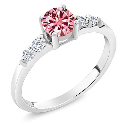 Gem Stone King 925 Sterling Silver Solitaire w- Accent Stones Ring Round Pink Created Moissanite and Lab Grown Diamond G - H 0.50ct (DEW) (Size 8)