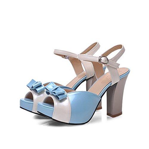 AllhqFashion Heeled High Schnalle Material Damen sortiert Sandalen Weiches Farbe Toe Blau Open Heels rBxrgw6qv