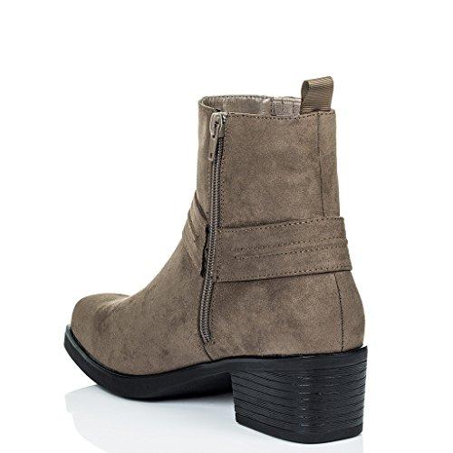 à Chaussures Daim SPIDER SPYLOVEBUY Talon Brun Bottines Femmes Bloc Santiags Simili qt0WH0