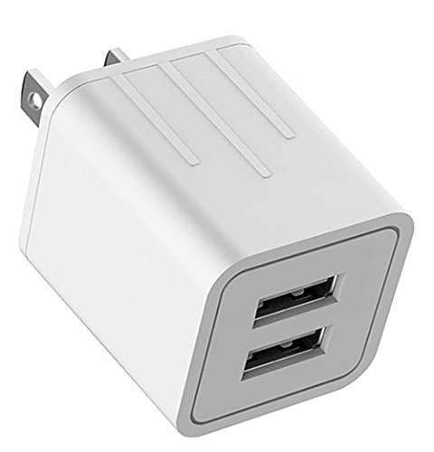 Attom Tech USB Wall Charger, High Speed 2-Port USB Charger for Home and Travel Plug Power Adapter for iPhone 4/4S/5/5s/6/6s/7/7s/8/8s/X Plus,Samsung Galaxy S6 S5 S4 S3,Smartphones,Tablets, etc. (Go Ipod Charger)