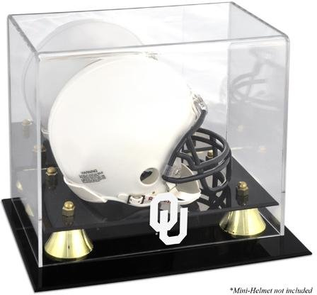 Mounted Memories Oklahoma Sooners Logo Golden Classic Mini Helmet Display Case