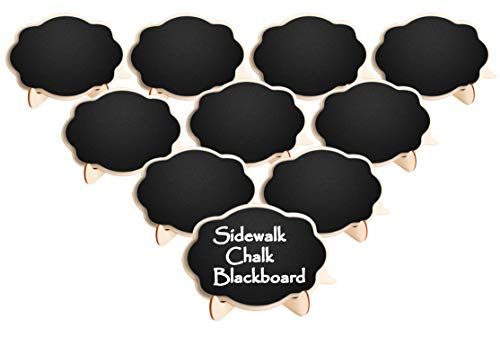 Famistar Mini Thicker Chalkboards Signs,10 PCS Sidewalk Chalk Blackboard Wood Small Message Board Place Cards for Weddings,Parties,Table Numbers,Food Signs,Special Event Decoration with Easel Stand