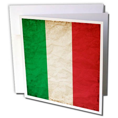 3dRose Italian Flag Old Look Trendy Work - Greeting Card, 6