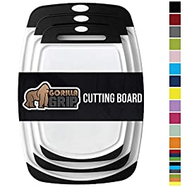 Gorilla Grip Original Oversized Cutting Board, 3 Piece, BPA Free, Dishwasher Safe, Juice Grooves, Larger Thicker Boards, Easy Grip Handle, Non Porous, Extra Large, Kitchen, Set of 3, Black