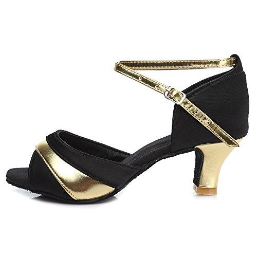 HROYL Damen Tanzschuhe/Latin Dance Schuhe Satin Ballsaal Modell-D7-806 5cm Gold