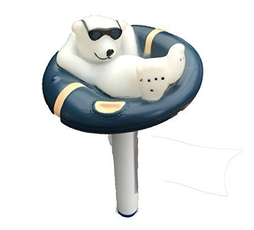 Black Polar Bear Floating Thermometer for Swimming Pools, Hot Tubs or Ponds Happy Hot Tubs