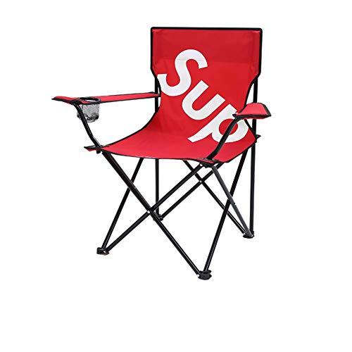 PeiQiH Außen Portable Campingstuhl, Leichtgewicht Einfachheit Mit Handlauf Becherhalter Carrying Bag Faltstuhl Strand Picknick Reise Angeln-stühle-D-rot-L 42x42x80cm