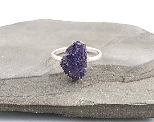 Raw Tanzanite Gemstone Crystal Ring Jewellery For Mother, Tanzanite Rock, Rough Tanzanite, Electroformed Rings Sterling Silver, December Birthstone Size 7