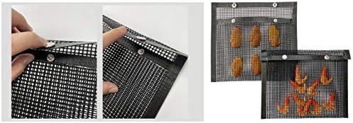 Weknowu Lot de 2 sacs en maille anti-adhésifs réutilisables pour barbecue, four, pique-nique pour jardin, cuisine en plein air, noir