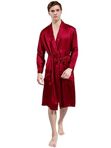 ElleSilk Men's Silk Robe, Silk Sleepwear for Men, 22 Momme, Wine, L