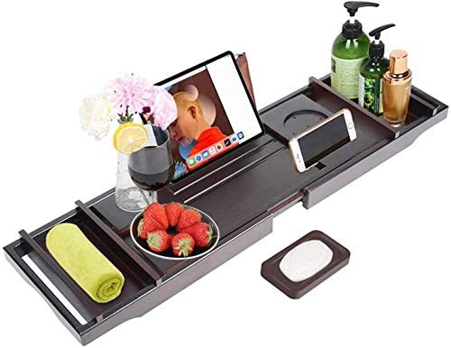 バーストレイバスタブキャディバスが持つ竹読書棚、ベッドトレイ、ラップトップトレイラック、複数回の使用(ダークブラウンウッド)