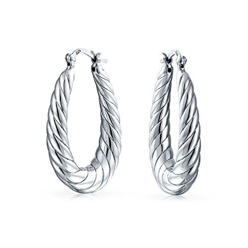 Bling Jewelry 925 Sterling Silver Twisted Shrimp Style Oval Hoop Earrings (Shrimp Style Ring)
