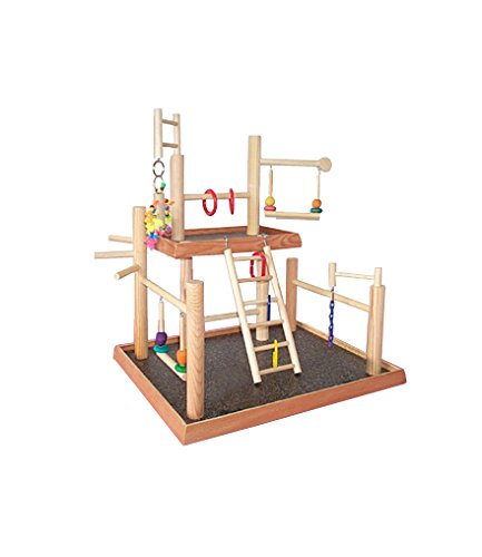 BirdsComfort Bird Gyms Playstand, Bird Activity Center, Wood Table Top Play Station for Parakeets - Base: 20'' x 17'' , Overall Height: 22'' - 2 levels by Bird Gyms