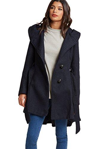 Sportoli Womens Single Breasted Wool Blend Belted Winter Dress Drama Coat with Hood - Navy (Size Medium)