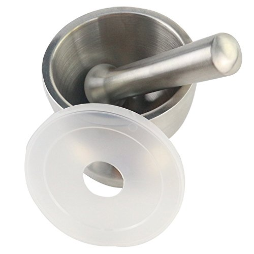 eBoTrade Kitchen Tools Spice Grinder/garlic Press Machine Mortar and Pestle Stainless Steel with Lid