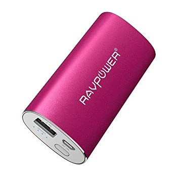 Portable Charger RAVPower 6700mAh (2.4A Output & 2A Input) External Battery Pack iSmart Technology for Smartphones Tablets and more - Pink