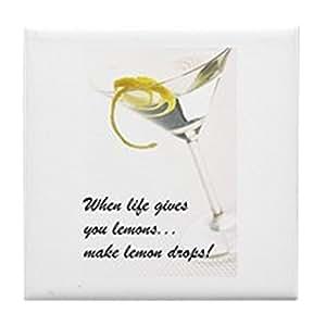 CafePress - Lemon Drop Martini Tile Coaster - Tile Coaster, Drink Coaster, Small Trivet