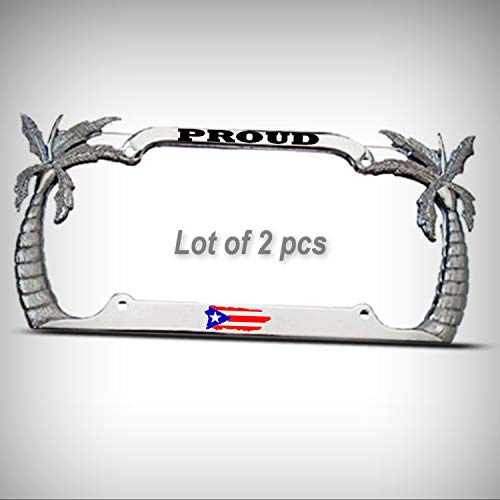 Set of 2 Pcs - Proud Puerto RICO Palm Tree Tag Holder License Plate Frame Decorative Border Puerto Rican Flag Pride Tag