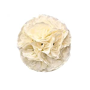 5 Pack 9.84 Inch Ivory Satin Flower Ball for Bridal Wedding Artificial Wedding Party Ceremony Decoration 3