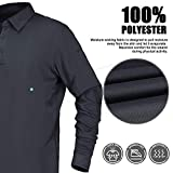 MIER Men's Outdoor Performance Tactical Polo Shirts Long and Short Sleeve, Moisture-Wicking, Grey, Medium