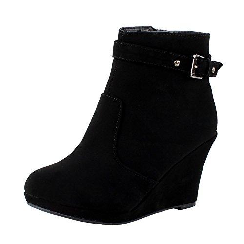Buckled Strap Ankle Stud Nubuck Platform Wedge Women's Moda High 15 Black Side Top Booties Zipper Top Cotton qzIn8