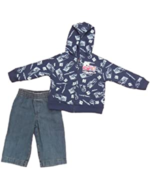 Cars Infant Boys 2pc Hooded Jeans Set Navy