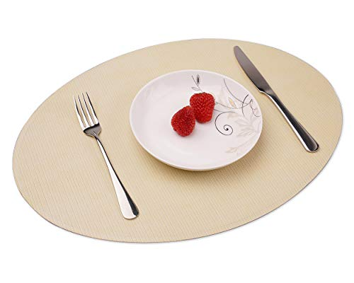 Convetu Set of 4 Placemats for Dining Table, PMT04 PU Leather Oval Table Mats 18 Inch, Edge Pressed Waterproof Place Mat Non Slip Heat Resistant Washable with Check Pattern (Beige)