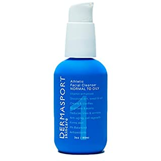 DERMASPORT Athletic Facial Cleanser Normal-Oily Skin Natural Vitamin Moisturizer