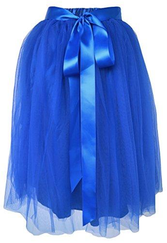 (Dancina Girls Knee Length Tutu A line Layered Tulle Skirt 8-13 Years Royal Blue)