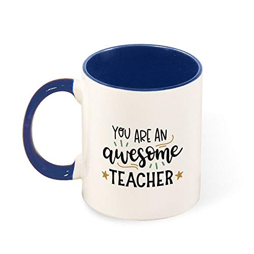 (DKISEE Colorful You Are An Awesome Teacher Coffee Mug Novelty 11oz Ceramic Mug Cup Birthday Christmas Anniversary Gag Gifts Idea)