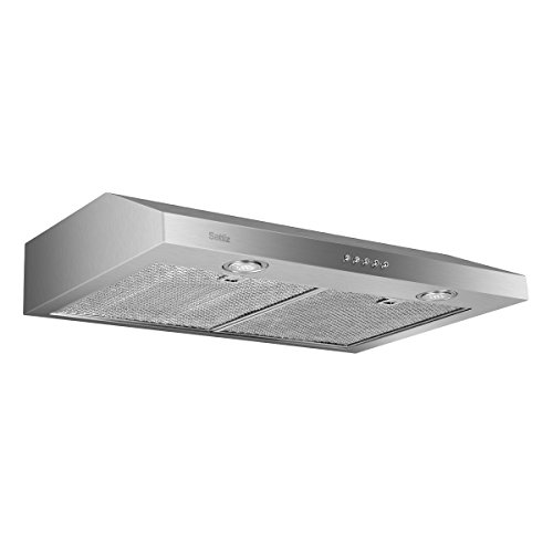 Under Cabinet Range Hood, Sattiz 30″ 350CFM Stainless Steel Wall-Mounted Kitchen Range Hood Vent Cooking Fan with Aluminum Filters and LED Lighting