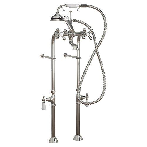 (Clawfoot Tub Freestanding Classic Telephone Faucet & Hand Held Shower Combo- Chrome)