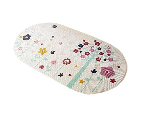 Japanese Style Cotton Braided Rug Oval Shape Flowers & Tree Door Mat