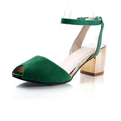 AllhqFashion Mujeres Hebilla Peep Tacón ancho Sólido Sandalias de vestir Verde