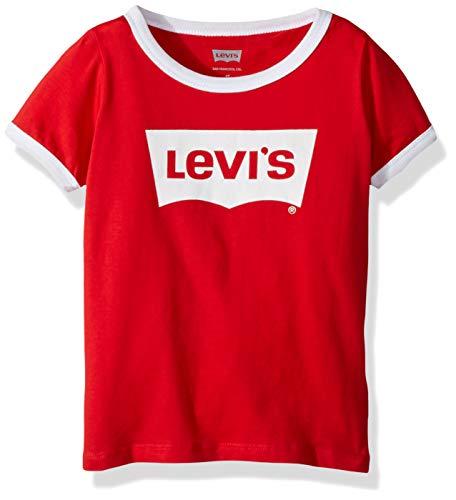 (Levi's Girls' Big Classic Batwing T-Shirt, Red Ringer, M)