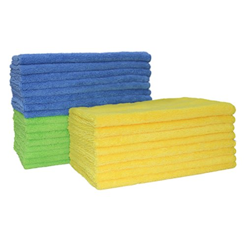 Polyte Microfiber Cleaning Towel (16x24, 24 Pack, Blue,Green,Yellow)