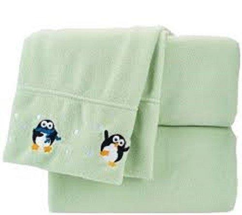 Berkshire Blanket Embroidered Polarfleece Sheet Set California king Size Sage Penguins