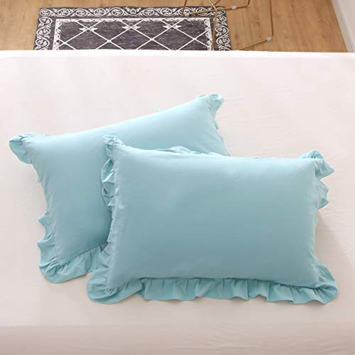 Meaning4 Hem Ruffle Pillow Cases Pillow Shams Covers Aqua Turquoise Teal Queen Size Set of 2 Cotton 20x30 inches