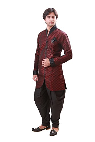 Maroon Indian Wedding Indo-Western Sherwani for Men by Saris and Things