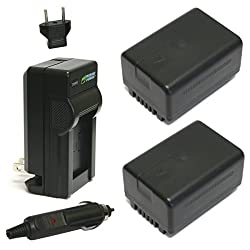 Wasabi Power Battery (2-pack) & Charger For Panasonic Vw-vbt190