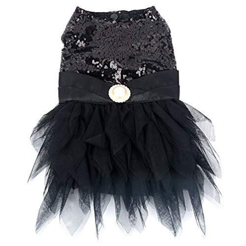 SMALLLEE_LUCKY_STORE YP0292 Pet Dresses Dog & Puppies, Black, Medium ()