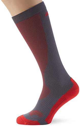 2XU Men's Compression Performance Run Socks, Grey/Red, X-Small by 2XU (Image #1)
