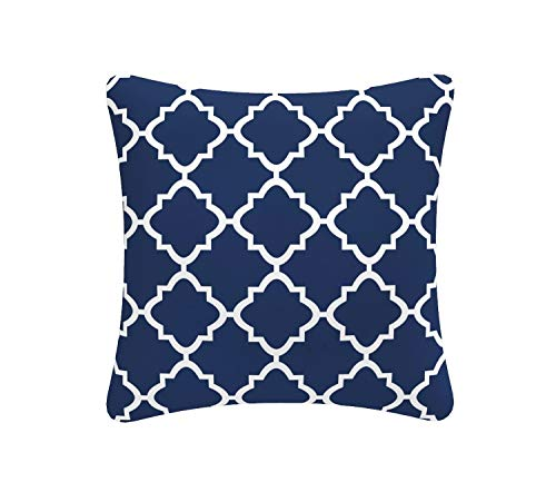 FBTS Prime Outdoor Decorative Pillows with Insert Navy Patio Accent Pillows Throw Covers 18x18 Inches Square Patio Cushions for Couch Bed Sofa Patio - Pillow 18 Accent Square Inch