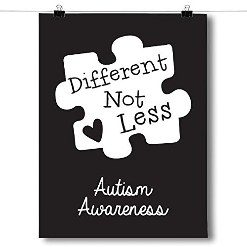 Inspired Posters Different Not Less - Black Autism Awareness Puzzle Piece Poster Size 8x10