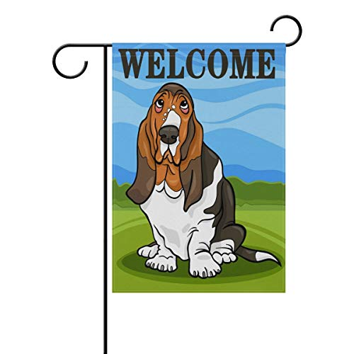 HONER Basset Hound Dog Welcome Country Farm Garden Flag 12 X 18 Inches, Double Sided Outdoor Yard Yall Garden Flag for Wedding Party House Home -