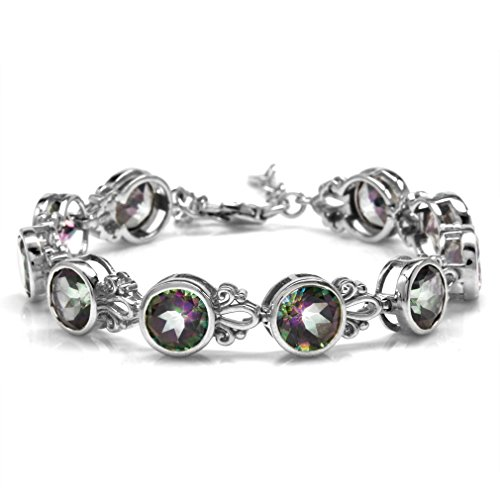 - 22ct. 8MM Round Shape Mystic Fire Topaz 925 Sterling Silver Filigree 6.5-8 Inch Adjustable Bracelet