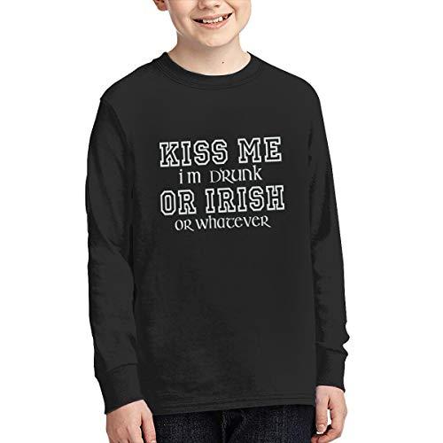 (ST Patricks Day T-Shirt Kiss Me I'm Drunk Or Irish Or Whatever Youth Long Sleeve T-Shirt XL Black)